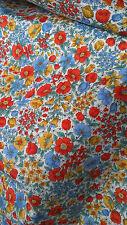 RED BLUE GOLD FLOWERS 100% cotton quilt dress SEVENBERRY fabric ONE metre 115cm