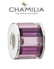 Genuine CHAMILIA sterling silver & Swarovski PURPLE BAGUETTE charm bead