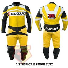 SUZUKI GSX YELLOW MOTORBIKE MOTORCYCLE COWHIDE LEATHER 2 PIECE ARMOURED SUIT