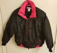 Vtg 80's 90's Womens Obermeyer Neon Pink Black Ski Snow Coat Down Jacket Sz 12
