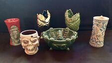 DLR Trader Sams Tiki Bar Mug Set: Kraken, Zombie, 2-Piranhas, Krakatoa, Tangaroa