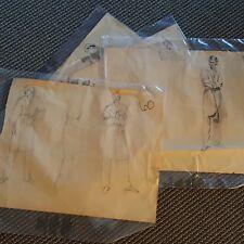 Lot 0f 4 Man in Smoking Jacket Sketches Romance Novel Elaine Gignilliat
