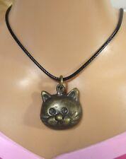 "Pussy Cat Pendant Necklace Charm Talisman Bronze 3 cm / 1.3 "" Tall"