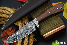 Custom Damascus Steel Hunting Knife Handmade With Walnut Handle (Z472-D)