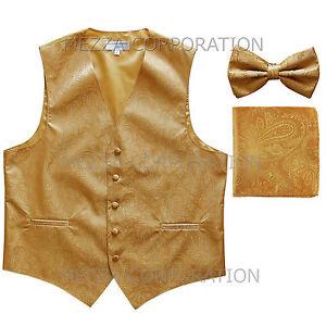 New Vesuvio Napoli Men's paisley Tuxedo Vest Waistcoat_Bowtie & Hankie Gold