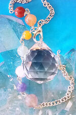 LARGE DIAMOND CUT SOLID CLEAR CRYSTAL QUARTZ DOWSING PENDULUM WITH CHAKRA CHAIN