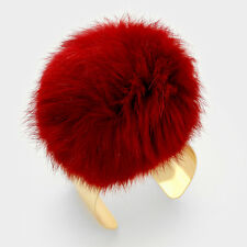 "5.50"" burgundy gold pom pom fur bracelet bangle cuff 1.50"" wide 203"