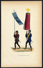Antique Print-JAPANESE SOLDIER-FLAG BEARER-MILITARY-COSTUME-Degreef-1850