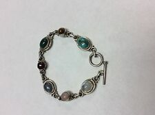 Sterling Silver Multi-Color Multi-Stone Toggle Clasp Bangle Cuff Bracelet