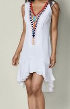 VENUS Womens Emroidered Detail Dress White Multicolor Size 8