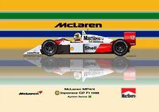Print on Canvas McLaren Honda MP4/4 1988 #12 Ayrton Senna (BRA) Hor. 100 x 75