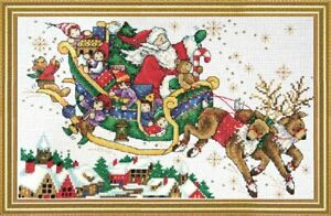 """Design Works Counted Cross Stitch Kit Christmas Sleigh 8"""" X 12"""" NEW 14 CT"""
