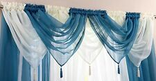 ELEGANT SOFT VOILE COLOURED CURTAIN SWAG WITH TASSLE £2.48 EACH FREE POSTAGE