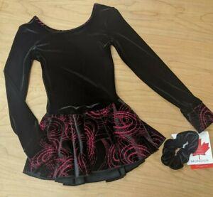 Mondor Black Velvet With a Swirl Pink Glitter Pattern Long Sleeve Ice Skate