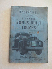 1949 Ford V8 F1 F2 F3 F4 F5 F6 F7 F8 bonus built F series trucks owner's manual