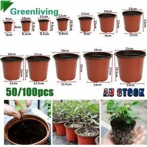 50/100Pcs Plastic Plant Flower Pots Nursery Seedlings Garden Plant Pot AU