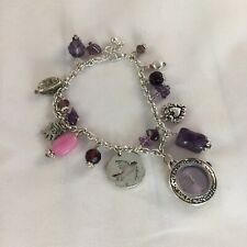Identity London Ladies Charm Bracelet Watch Purple & Silver Tones Pretty