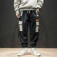 Pockets Cargo Pants Mens Casual Harem Baggy Harajuku Streetwear Hip Hop Trousers