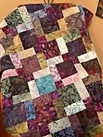 """Unfinished Batik Quilt Top in Purple & Green, 33"""" x 46"""", Ready to Finish"""