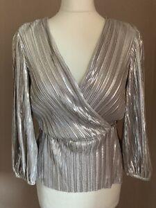 River Island Silver Wrap Berlin Doll Top Size 8 Long Sleeves BNWT
