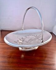 LARGE RUSSIAN 84 SOLID SILVER BASKET: PYOTR ABROSIMOV 1882-1899, HAND ENGRAVED