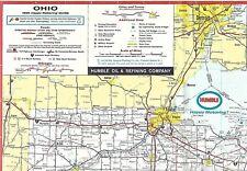 1969 HUMBLE OIL Road Map OHIO Columbus Dayton Cleveland Toledo Cincinnati Akron