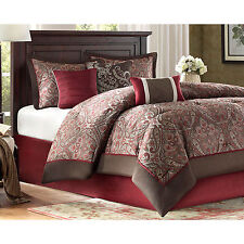 King Size Luxury Bedding Set 7 Piece Burgundy Comforter Sheets Bedskirt Talbot
