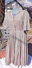 VINTAGE 1950's - 60's WESTBURY FULL SKIRT BROWN CHECKED DRESS MEDIUM