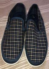 izod jesternvy 10 D mens white rubber sole plaid navy blue yellow slip on boat