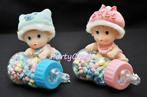 Baby Shower Fillable Baby Bottle Party Decoration Favor Cake Topper Boy Girl 4""