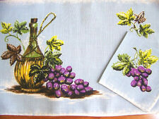 FOUR Linen Wine and Grapes Placemats and Napkins Wine Cheese Cocktails Vintage