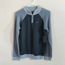 DKNY Sweater L 14 16 Knit Pullover Zip Collared Embroidery Logo Block Color