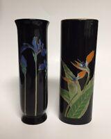 "Otagiri Bud Vase Set of 2 Blue Iris & Bird of Paradise 6.5"""