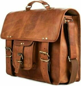Unisex Satchel Bag LARGE Leather Messenger Briefcase Shoulder Office Laptop Bag