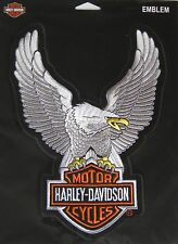 Harley Davidson Up Wing Eagle Silver Patch Large 10.5x 7 3/4 Ships International