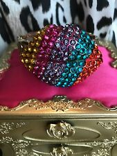 Betsey Johnson The Eyes Have It HUGE Rainbow Crystal Striped Lips Mouth Bracelet