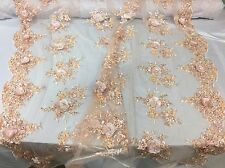 Majesty Design 3D Flower Mesh Lace Fabric Beaded Bridal Peach. Sold By The Yard