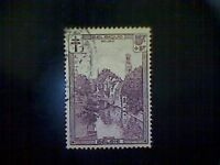 Stamps, Belgium, Scott #B98, used(o), 1929, Quai at Bruges, (5+5)fr, dull violet
