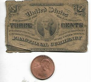 US Fractional Currency 3 Cents Paper Money 1863