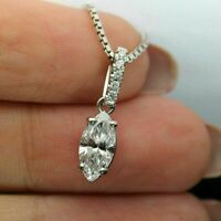 2.00 Ct Marquise Cut Diamond Solitaire Pendant Necklace 14k White Gold Finish