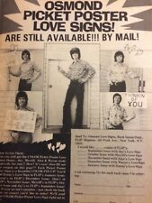 The Osmonds, Osmond Brothers, Love Signs, Full Page Vintage Promotional Ad