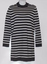L.O.G.G. H&M Ladies Long Sleeve Fine Knit Stripe Sweater Dress Dark Gray M NWT