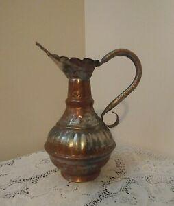 Antique Hand Made Ornate Copper Pitcher Ewer