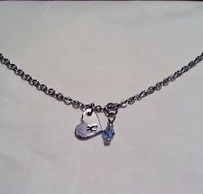 "HANDMADE PERSONALIZED ""K"" & ""HEART"" PENDANT WITH BLUE CRYSTAL CHARM NECKLACE"