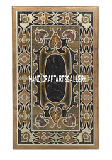 4'x2' Brown Marble Dining Table Top Rare Gems Pietra Dura Art Inlaid Decor H3302