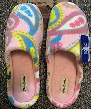 Dearfoams Women's Faux Shearling Slide Pink Slipper Memory Foam Size L 9-10