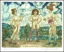 David Bekker 2002 Exlibris C4 Erotic Erotik Nude Nudo Woman Sex Fencing 779
