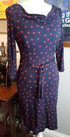 Pepperberry Navy/Red Spot Jersey Cowl Neck Dress 8RSC (Bravissimo)
