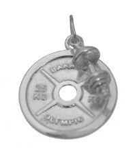 Weight Barbell Plate dumbbell Sterling Silver 925 Charm 2 piece set Jewelry New