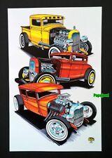 "Rat Rod Hot Rod Art Print Poster Ford Pickup Coupe Sedan Street Cruz 11"" by 17"""